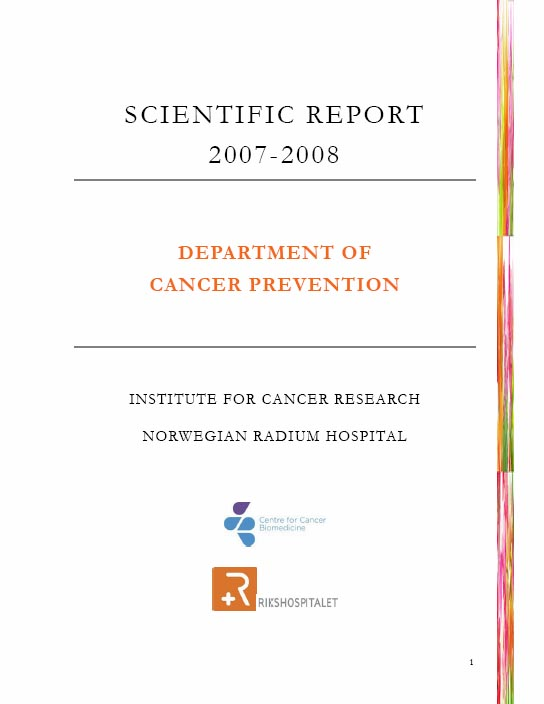 Scientific reports Dept of Molecular Oncology Institute for – Scientific Report