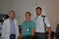 Thor Edvardsen (left) and Kristina Haugaa from OUS with Eigil Samset from GE Vingmed Ultrasound