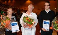 From the 2016 ceremony: P�l Aukrust (Excellent Researcher Award) flanked by Therese Seierstad og Espen Melum (both Early Career Awards)